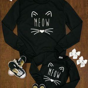 "Other - Mom & Me ""Meow"" Black Cat Sweatshirts"